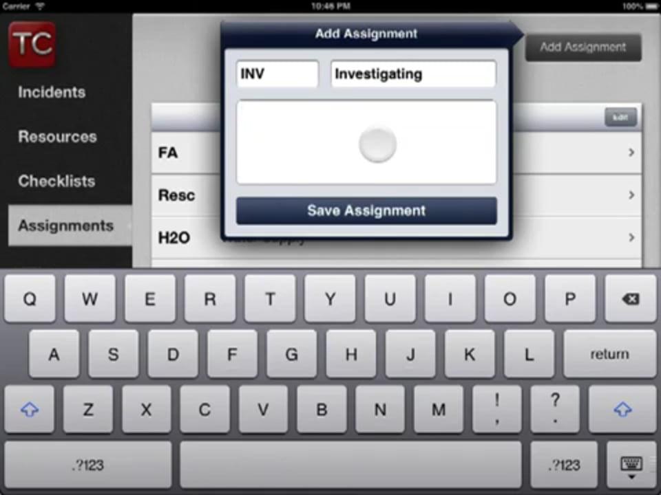 Configure Assignments - Tablet Command