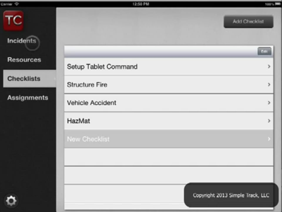 Create Incident - Tablet Command