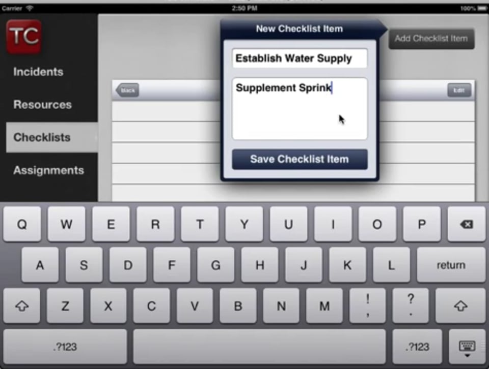 How to Add a Checklist in Tablet Command
